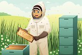 Insect,Honey,Cartoon,Beekeeper,Agriculture,Animal,Bee,Men,Hobbies,Leisure Activity,Male,People,Clip Art,Ilustration,Manual Worker,Outdoors,Vector,Expertise,Recreational Pursuit,Professional Occupation,Honeycomb,Beehive,Lifestyles,Modern,Organic,Adult,Working,Pencil Drawing