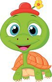 Cartoon,Slow,Single Flower,Vector,Young Animal,Mascot,Characters,Green Color,Tortoise,Animal,Animals In The Wild,Flower,Small,Ilustration,Cute,Cheerful,Brown,Animal Shell,Turtle,Reptile,Humor,Happiness,Walking,Smiling,Fun,Hat,Boredom,Terrapin