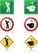 Golf,Flag,Sport,Putting Green,Hole,Shiny,Symbol,Golf Course,Sign,Reflection,Ilustration,Upper Class,Vector,Men,Swinging,Computer Graphic
