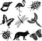 Animal,Computer Icon,Symbol,Butterfly - Insect,Vector,Fox,Black And White,Parrot,Flying,Macaw,Flamingo,tropical animal,Icon Set,Insect,Animal Shell,Mammal,Beetle,Seashell,Ilustration,Bird,Tropical Insect,Rainbow Beetle,Tropical Bird,Ladybug,Tropical Climate,Dragonfly,Nature