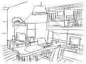 Sketch,Domestic Room,Design Professional,Consultant,Indoors,Living Room,Furniture,Planning,Drawing - Activity,Ilustration,freehand,Home Interior,Technology,Business,Decoration,Working Table,Design,Pen,Whiteboard,Working,Decor,Backgrounds,Success,Black Color,White,Modern,Rough Sketch,Student,Ideas,Painted Image,Vanishing Point,Ornate,Abstract,Architecture,Professional Occupation,Residential District,Personal Organizer,hand drawn,House,Isolated,Writing