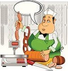 Butcher,Backgrounds,Computer Graphic,Smiling,Happiness,Trading,Humor,Sausage,Food,Drawing - Art Product,Balloon,Circle,Cartoon,Ilustration,Cheerful,Brochure,Design,Meat,Retro Revival,Service,Mascot,Butcher's Shop,Men,Characters,Job - Religious Figure