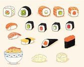 Hand Roll,Ramen Noodles,Freshness,Eating,Red,Soup,Food,Cheese,Label,Avocado,Vector,Maki Sushi,Ilustration,Cucumber,Caviar,Sushi