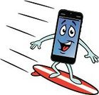 Surfing the Net,Internet,Speed,Business,Equipment,Riding,Humor,Technology,Surfboard,Personal Data Assistant,Computer,Electronic Organizer,Global Communications,Cartoon,Communication