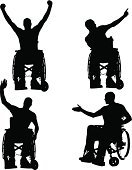 Healthcare And Medicine,Wheel,Backgrounds,Illness,People,Wheelchair,Hospital,Walking,Sitting,Men,Physical Impairment,Ilustration,Winning,Greeting,Saluting,Vector