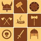Viking Ship,Shield,Vector,Medieval,Symbol,Sword,Brown,Hammer,Icon Set,Ilustration,Axe,Beige,Battle,Work Helmet,Scandinavian,Ship,Body Armor,Silhouette,Flag,Design,Protective Workwear,Cultures,Old,Wood - Material,Ancient,History