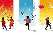 Child,Silhouette,Running,Balloon,Childhood,Butterfly - Insect,Little Boys,Little Girls,Joy,Happiness,Vector,Bird,Ilustration,Floral Pattern,Babies And Children,Healthy Lifestyle,Lifestyle,Concepts And Ideas