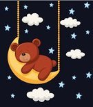 Dreamlike,Cards,Blue,Cute,Young Animal,Cloud - Sky,Greeting Card,Ilustration,Mammal,template,Night,Star Shape,Toy,Cloudscape,Vector,Space,Star - Space,Animal,Postcard,Advertisement,Brown,Bear,Moon Surface,Moon,Sleeping,Cartoon,Mascot