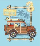 Beach,Beach Ball,Wave,Child's Drawing,Backgrounds,Vector,Palm Tree,Summer,Surf,Surfing,Car,Bamboo,Bamboo