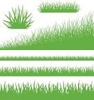 Grass,Lawn,Vector,Set,Green Color,Meadow,Springtime,Abstract,Isolated,Field,Symbol,Nature,Landscape,Summer,Collection,Plant,Design Element
