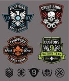 Motorcycle,Human Skull,Coat Of Arms,Piston,Sign,Badge,Shield,Patch,Eagle - Bird,Iron Cross,Sports Team,Biker Jacket,Design,Wing,Vector,Insignia,Set,Isolated