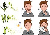 Ragweed,Allergy,Pollen,Coughing,Sneezing,Waist Up,Unwell,Little Boys,medicated,Men,Springtime,Cold And Flu,Cedar Tree,Grass,Virus,Winter,Flu Virus,symptom,Facial Tissue,Male,Ilustration,Adult,White Background,Vector,Patient,Hay Fever,sniffle,Handkerchief,Sore Throat,Illness,Inhaling