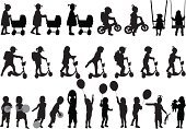 Silhouette,Back Lit,Little Girls,Child,Ball,Retro Revival,Playful,Toy,Balloon,People,Theatrical Performance,Stroller For Dolls,Vector,Childhood,Walking,Fun,Bicycle,Photograph,Action,Enjoyment,Isolated,Concepts,Backpack,Ilustration,Single Object,Racing Bicycle,Play,Cycling,Joy,Ideas