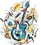 Musical Band,Music Style,Exploding,Rock and Roll,Colors,Watercolor Painting,Illustration Technique,Musical Instrument,Doodle,Ilustration,Incomplete,Guitar,Bizarre,Musical Instrument String,Music,Musical Note,Guitarist,Painted Image,Party - Social Event,Bunt,Acoustic Guitar,Cut Out,Single Object,White Background,Wood - Material