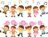 Singing,Child,Music,Toddler,Classroom,Preschool Student,Characters,Vector,Friendship,Smiling,Elementary Student,Posing,Facial Expression,Full Length,People,Musical Symbol,Ilustration,School Building,Little Boys,Little Girls,Cute,Group Of People,Vitality