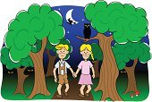 Characters,Fairy,Teenage Girls,Absence,Loneliness,Horror,Solitude,Witch,Little Boys,Owl,Spooky,Dark,Sibling,Child,Brother,Moon,Human Eye,Mythology,Fairy Tale,Storytelling,Lost,Confusion,Bizarre,Tree,Ilustration,Cartoon,Woodland,Night,Sister,Forest,Vector,Fantasy,Animal Eye
