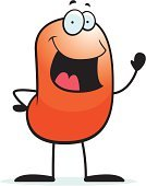 Jellybean,Bean,Single Object,Smiling,Vector,Waving,Orange Color,Ilustration,Cartoon,Cheerful,Happiness,Small