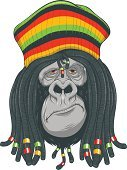 Clip Art,Gorilla,Hippie,Cute,Dreadlocks,Rastafarian,Endangered Species,Africa,Zoo,Yellow,Wildlife,Pigtails,Human Face,Decoration,Nature,Necklace,Red,Hat,Vector,Mammal,Primate,Ilustration