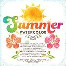 Hibiscus,Vector,Watercolor Painting,Summer,Flower,Ilustration,Single Flower,Sun,Grunge,Textured,Textured Effect,Multi Colored,Invitation,Sketch,Flyer,Drop,Scroll Shape,Splattered,Swirl,Drawing - Art Product,Vacations,Label,Frame,Text,Calligraphy,Sign,hand drawn,Symbol