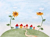 Landscape,Ilustration,Backgrounds,Copy Space,Multi Colored,Painted Image,Small,Paintings,No People,Greeting Card,Abstract,Yellow,Village,Cute,Flower,House,Sunflower,Cloud - Sky,Sky,Red