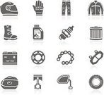 Motorcycle,Computer Icon,Symbol,Icon Set,Crash Helmet,Biker Jacket,Jacket,Case,Equipment,Work Helmet,Sports Helmet,Vector,Gear,Boot,Tire,Spark Plug,Battery,Oil Filter,Piston,Part Of,Sports Glove,Black Color,Simplicity,Engine Oil,Pants,Clothing,Glove,Leather Jacket,Flat,Brake Pad,Chain,Personal Accessory,Side-View Mirror