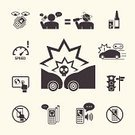 Driving,Telephone,Control,Alcohol,Driver,Car,Crash,Accident,Traffic,Technology,Risk,Human Eye,Speed Limit Sign,Impact,Police Force,Icon Set,Digital Tablet,Human Skull,On The Phone,Warning Sign,Danger,People,Design,Mobile Phone,Death,Speaker