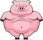 Over Eating,Greed,Pig,Vector,Livestock,Smiling,Domestic Pig,Cartoon,Overweight,Ilustration