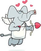 Love,Ilustration,Heart Shape,Smiling,Valentine's Day - Holiday,Wing,Vector,Happiness,Cheerful,Bow,Arrow,Cartoon,Cupid,Flying,Elephant,Animal