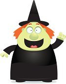 Magic,Ilustration,Ideas,Inspiration,Monster,One Person,Vector,Standing,Robe,People,Hat,Happiness,Cartoon,Black Color,Smiling,Talking,Dress,Overweight,Cheerful,Green Color,Women,Witch