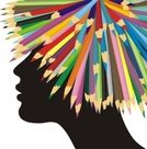 Wig,Painted Image,Creativity,Vector,Pencil,Silhouette,Teenage Girls,Human Head,Profile View,Crayon Drawing
