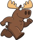 Running,Moose,Ilustration,Vector,Happiness,Smiling,Cartoon,Animal,Antler,Brown,Cheerful
