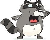 Smiling,Vector,Waving,Wildlife,Raccoon,Ilustration,Cartoon,Greeting,Cheerful,Happiness,Animal