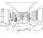 Sketch,Home Interior,Domestic Room,Indoors,Pencil Drawing,Window,Drawing - Art Product,Vanishing Point,Living Room,Furniture,Lighting Equipment,Comfortable,Black And White,Architecture,Computer Graphic,Modern,No People,Residential Structure,Design,render,Pattern,Apartment,achromatic,Ilustration,Built Structure,Drafting,Housing Project,Abstract,Construction Industry,White,Residential District