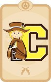Gun,Little Girls,Teenage Girls,Ilustration,Vector,Weapon,Cowgirl,Letter C,Alphabet,Handgun,Cartoon,Sheriff,Frame,Education,Wild West,Country and Western Music,Star Shape,Cowboy,Western USA