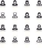 Symbol,Computer Icon,Teacher,Scientist,Black Color,Doctor,Avatar,Customer Service Representative,Occupation,Nurse,Human Role,Reflection,People,Vector,Men,Flat,Chef,Sign,Surgeon,Manual Worker,Waiter,Businessman,Businesswoman,Student,Women,Business,Set