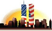 September 11 2001,American Flag,Patriotism,Flag,Memorial,Sunset,Outdoors,Urban Skyline,Famous Place,Cut Out,No People,Patriot Day,9/11,New York City,Memories,Cityscape