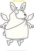 Rabbit - Animal,Ilustration,Smiling,Vector,Wing,White,Spirituality,Happiness,Baby Rabbit,Animal,Cartoon,Flying,Cheerful,Halo,Angel