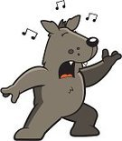 Singing,Wolf,Coyote,Musical Note,Vector,Music,Standing,Dog,Animal,Cartoon,Howling,Ilustration