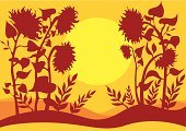 Sunflower,Sunset,Autumn,Summer,Yellow,Vector,Red,Growth,Clip Art,Heat - Temperature,Sun,Floral Pattern,Circle,Flower,Plant,Backgrounds,Style,Beauty,Beauty In Nature,Ilustration,Decoration,Season,Ornate,Orange Color,Nature