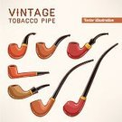 Pipe,Smoking,Vector,Smoke - Physical Structure,Isolated,Single Object,White,Ilustration,Backgrounds,Toxic Substance,Habit,Multi Colored,Gold Colored,Symbol,Brown,Tobacco Crop,Retro Revival,Gold,Cute,Text Messaging,Text,Black Color,Classic,Collection,Old-fashioned,Design,Set,Wood - Material