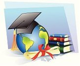 Graduation,Mortar Board,Globe - Man Made Object,Earth,Cap,Wisdom,Book,Diploma,Degree,Vector,Expertise,Planet - Space,Certificate,Scroll,Ilustration,Stack,Ribbon,Objects/Equipment,Bow,Bow