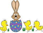 Easter Bunny,Animal,Humor,Easter,Young Bird,Hatchling,Easter Egg,Rabbit - Animal,Baby Chicken,Hare,White Background,Isolated,Vector,Cartoon,Happiness,Chicken - Bird,Cheerful,Surprise,White,Characters,Eggs,Hatching,Holiday,Animal Egg,Ilustration