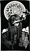 Scandinavian,Mythology,Celtic Culture,Scandinavian Culture,Viking,King,Iceland,norse,Paganism,Wotan,God,odin,Norway,Death,Sweden,Woodcut,asgard,Tribal Chief,Father,Crow,God