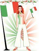 Italy,Italian Culture,Women,Italian Flag,Ilustration,Celebration,Freedom,Patriotism,Party - Social Event,Flag,Funky,Holiday,Message,Smiling,Cute,Holiday Backgrounds,July,Illustrations And Vector Art,Redhead,Excitement,Joy,Beautiful,Happiness,Flying,Energy,Gesturing,Waving,Holiday Symbols,Communication,Cool,Holidays And Celebrations,Summer,Long Hair,Cheerful,Greeting