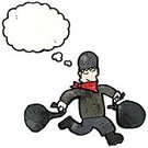 Thought Bubble,Thinking,Thought Cloud,Thief,Criminal,Burglar,Cheerful,Bizarre,Cultures,Clip Art,Cute,Doodle,Ilustration,Vector