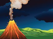 Volcano,Mountain,Lava,Cartoon,Computer Graphic,Nature,Image,Land,Wealth,Cone,Bat - Animal,Scenics,Cloud - Sky,Sky,The Landform - Edinburgh,Fire - Natural Phenomenon,Erupting,Hill,Green Color,Night,Dark,Black Color,Flame,Orange Color,Exploding,Danger,Heat - Temperature,Smoke - Physical Structure,Landscape