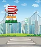 At The Edge Of,Symbol,Red,Striped,Hot Air Balloon,Inflatable,Mid-Air,India,Angle,Flying,Cloud - Sky,Street,Coat Of Arms,Circle,Lane,Office Building,Building Exterior,Sky,Green Color,Musical Band,Flag,nation,National Landmark,Computer Graphic,Image,Orange Color,Carrying,Sign,Rectangle,Tall,Outdoors,Pedestrian,Blue,City,sides,Built Structure,Insignia