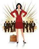 Businesswoman,Brown Hair,Arms Akimbo,Working,Skirt Suit,Long Hair,Caucasian Ethnicity,Briefcase,Businessman,Formalwear,Cut Out,Business,People,One Person With Others,Men,Adult,Women,Confidence