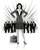 Women,Adult,Cut Out,Men,One Person With Others,People,Business,Confidence,Businessman,Formalwear,Long Hair,Briefcase,Skirt Suit,Arms Akimbo,Businesswoman,Working,Toned Image