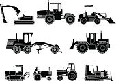 Grader,Railroad Track,Track,Front End Loader,Earth Mover,Truck,Mining,Power,Medium Group of Objects,Symbol,Set,Wheel,Digging,Vector,Machinery,Sign,Vehicle Scoop,Industry,Construction Machinery,Car,Transportation,Land Vehicle,Black And White,Monochrome,Bulldozer,Technology,Engine,Tractor